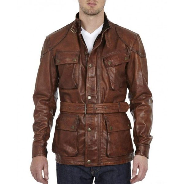 Mens Biker Belted Waxed Brown Leather Jackets