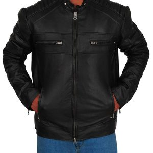 Mens Biker Cafe Racer Retro Vintage Black Leather Jacket