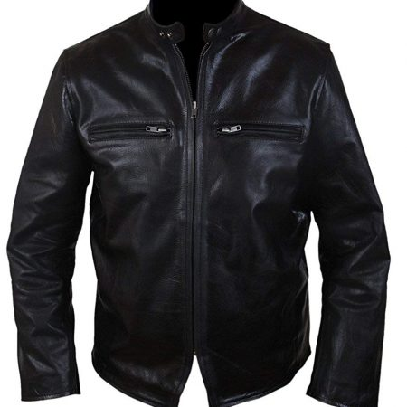 Mens Burnt Bradley Cooper Crunch Cowhide Genuine Leather Jacket