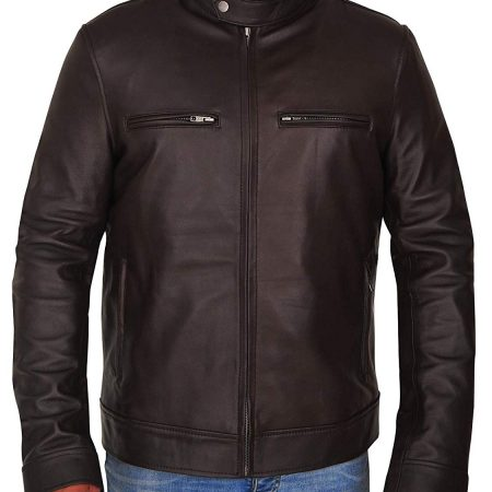 Mens Casual Wear Washed Brown Biker Style Slim Fit Leather Jacket