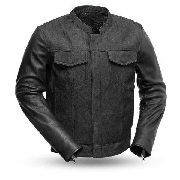 Mens Cutlass Denim Leather Motorcycle Jacket