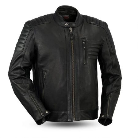Mens Defender Black Leather Motorcycle Jacket