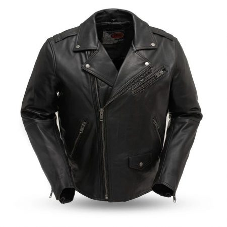 Mens Enforcer Black Leather Motorcycle Jacket