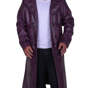 Mens Fashion Classic Style Long Leather Trench Coat Jacket