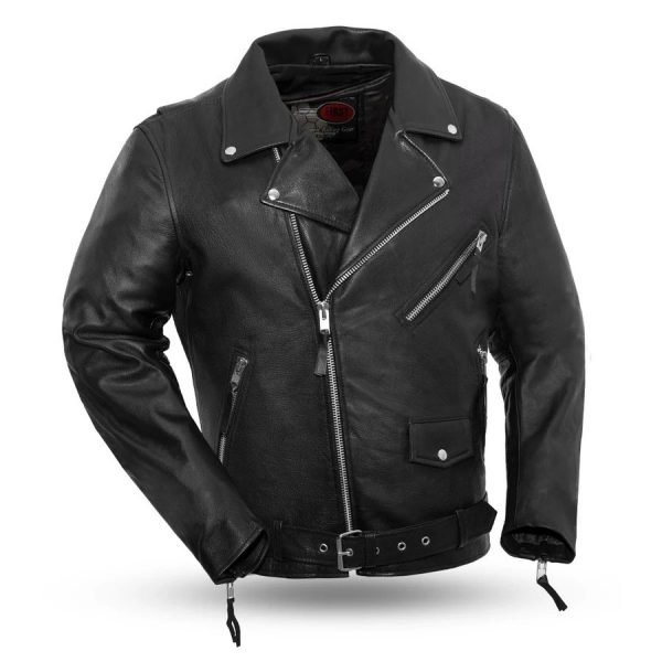 Mens Fillmore Leather Black Motorcycle Jacket