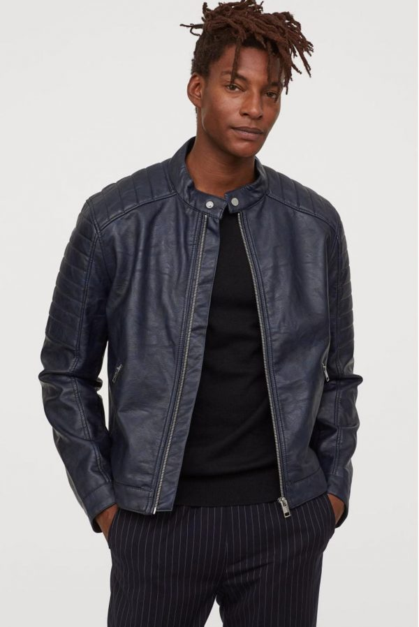 Mens H&M Biker Leather Jacket