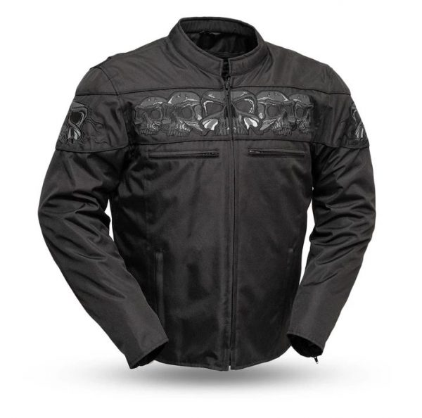 Mens Immortal Codura Black Reflective Skull Jacket