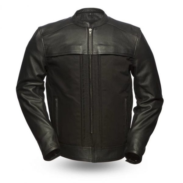 Mens Invader Black Motorcycle Leather Jacket