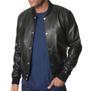 Mens Joe's Jeans Lamb Leather Bomber Jacket