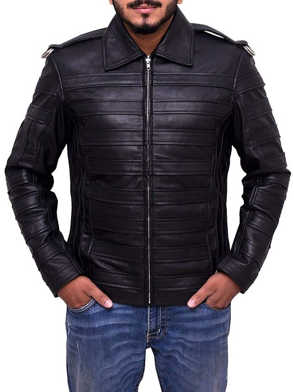 Mens Leather Jacket Casual Biker Stripes Soft Leather Jacket
