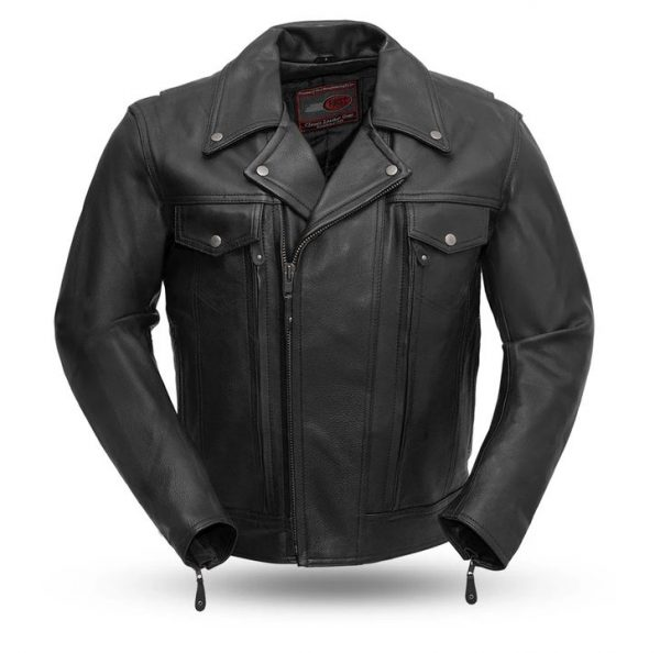 Mens Mastermind Black Leather Motorcycle Jacket