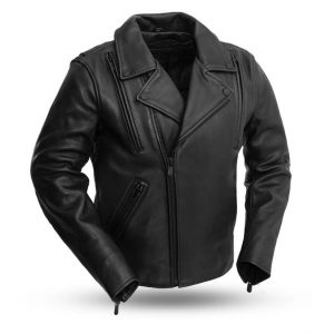 Mens Night Rider Leather Motorcycle Jacket