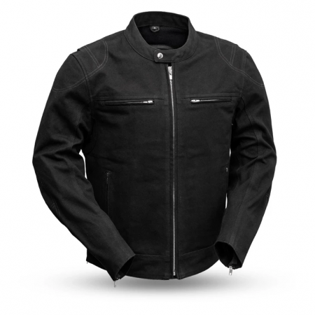 Mens Qualifier Black Motorcycle Canvas Jacket