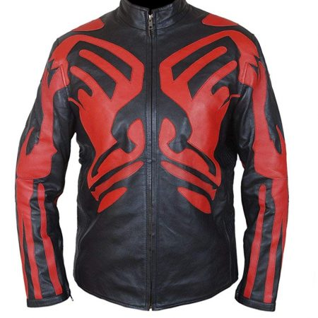 Mens Red & Black Darth Maul Café Racer Genuine Leather Jacket