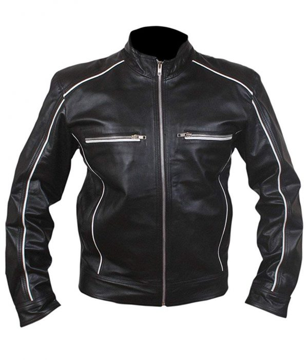 Mens Retro White Piping Cafe Racer Tron Genuine Leather Jacket