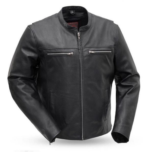 Mens Rocky Black Motorcycle Leather Jacket