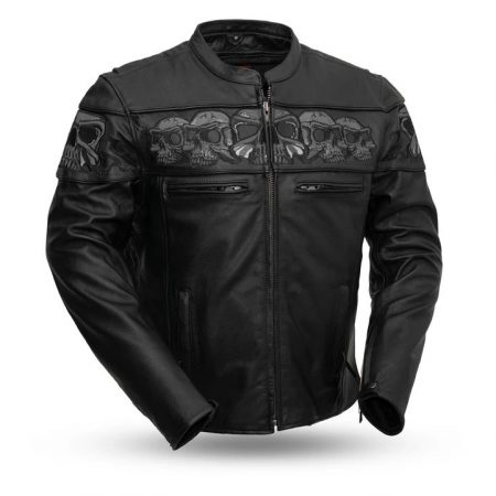 Mens Savage Skulls Black Motorcycle Leather Jacket