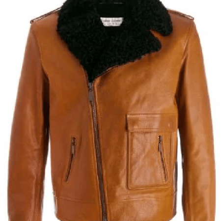 Mens Shearling Trim Brown Leather Jacket