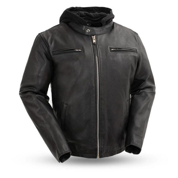 Mens Street Cruiser Black Motorcycle Leather Jacket