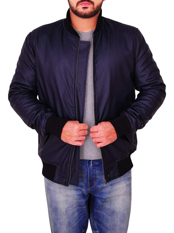 Michael Midnight Blue Bomber Faux Smooth Leather Jacket