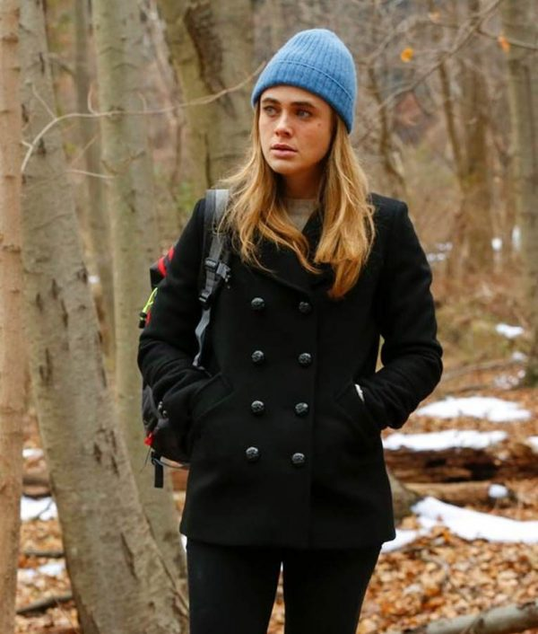 Michaela Stone Melissa Roxburgh Black Wool-Blend Manifest Pea Coat