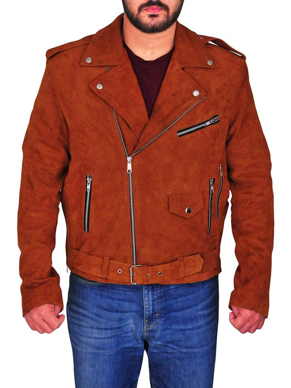 New Rock Brando Tan Mens Motorcycle Suede Real Leather Jacket