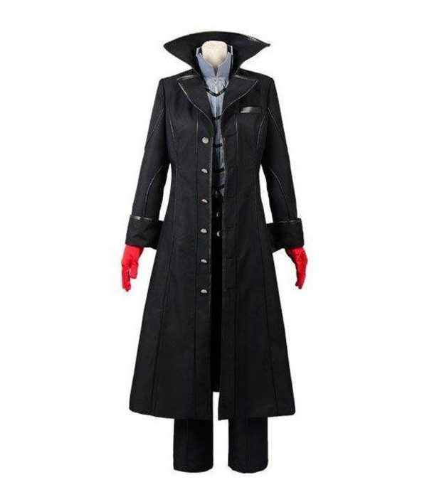 Persona 5 Video Game Joker Black Leather Long Coat