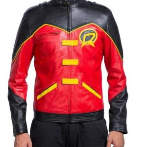 Robin Tim Drake Superhero Leather Jacket Costume
