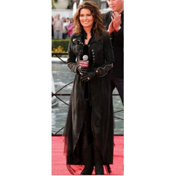 Shania Twain Black Long Leather trench Coat