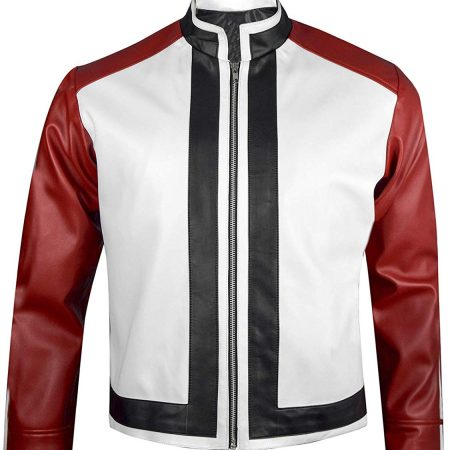 Terry Bogard King of Fighters Game Rock Howard Red & White Leather Jacket