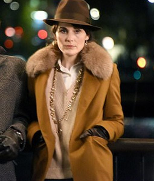 The Gentlemens Michelle Dockery Brown Wool Trench Coat with Fur Collar