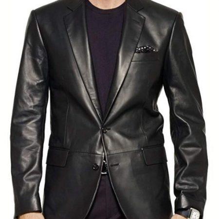The Sopranos James Gandolfini Black Leather Tony Soprano Blazer