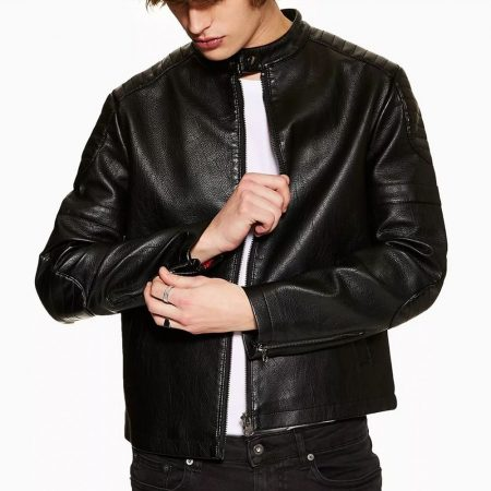 Topman Racer Black Faux Leather Jacket