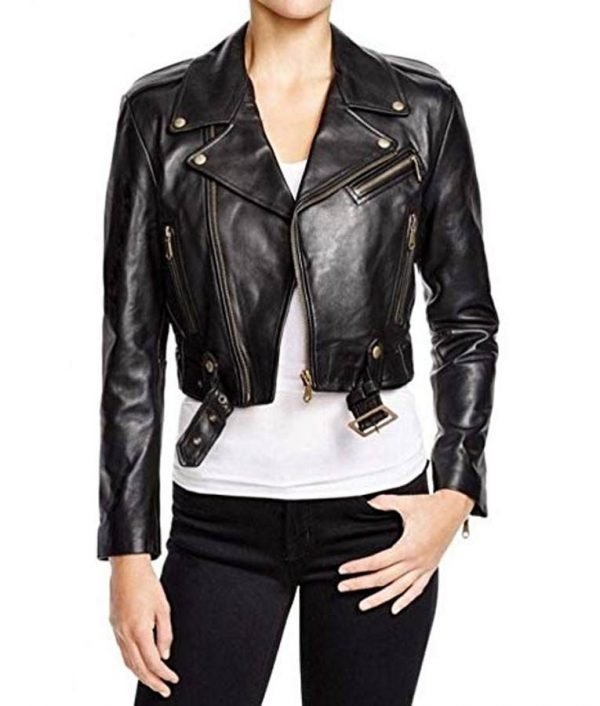 WWE Becky Lynch Black Cropped Motorcycle Leather Jacket