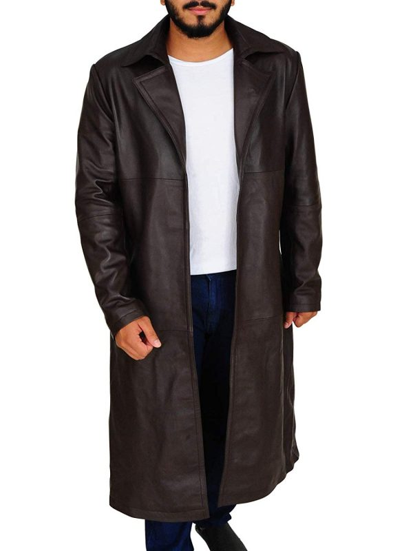 Westerns Wear Cowhide Leather Cowboy Style Trench Jacket