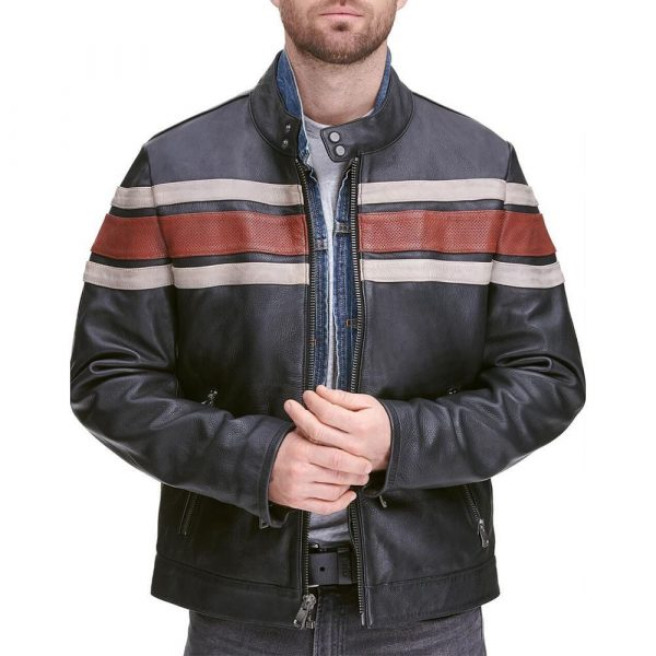Wilson Leather Vintage Striped Leather Jacket