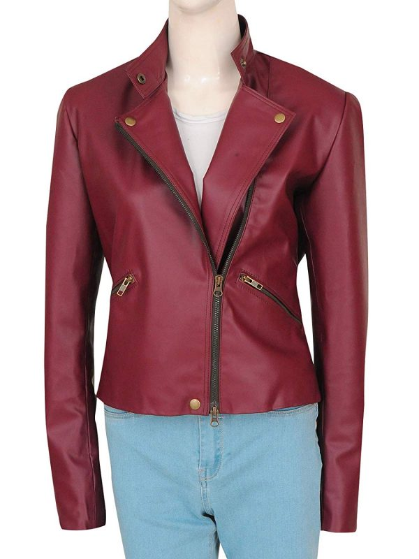 Women Fashion Stylish Zipper Maroon Leather Brando Biker Jacket