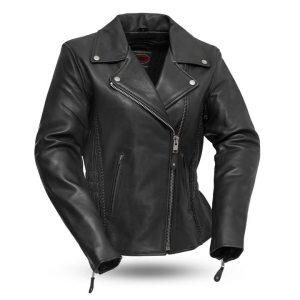 Womens Allure Black Leather Motorcycle Jacket