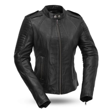 Womens Biker Black Motorcycle Leather Jacket