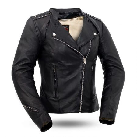 Womens Black Widow Leather Motorcycle Jacket