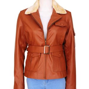 Womens Fashion Fur Collar Tan Brown Biker Lambskin Leather Jacket