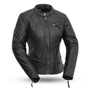 Womens Fashionista Black Motorcycle Leather Jacket