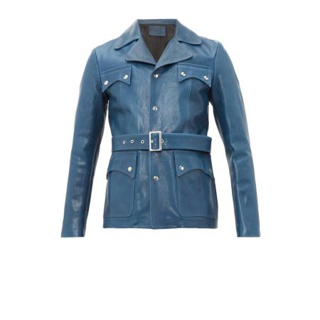 Womens Givenchy Blue Belted Leather Jacket