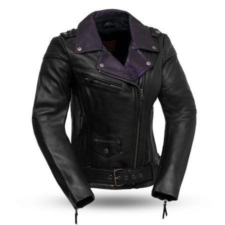 Womens Iris Black Leather Motorcycle Jacket