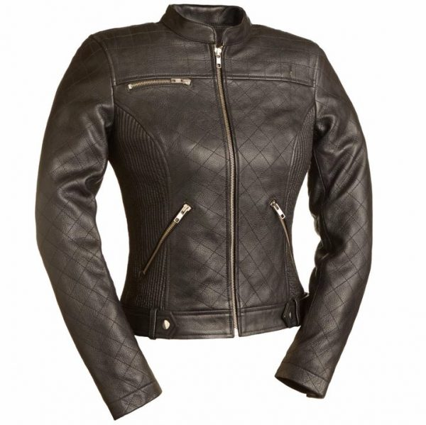 Womens Queen of Diamonds Brown Motorcycle Leather Jacket