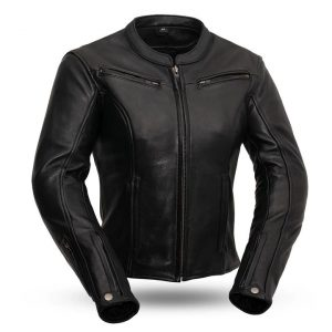 Womens Speed Queen Black Leather Motorcycle Jacket
