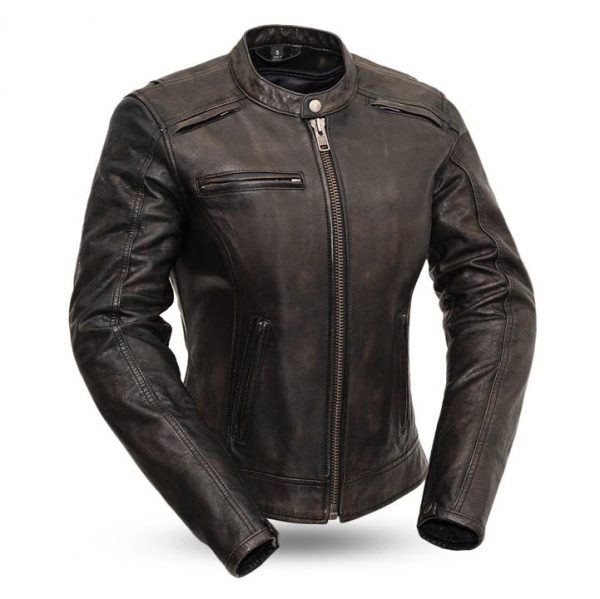 Womens Trickster Black Leather Motorcycle Jackets