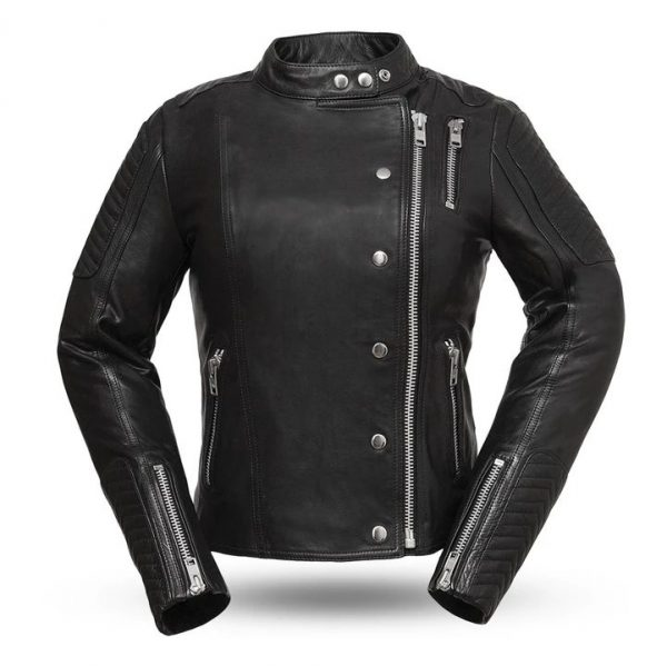 Womens Warrior Princess Black Leather Motorcycle Jacket