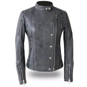 Womens Warrior Princess Grey Leather Motorcycle Jacket