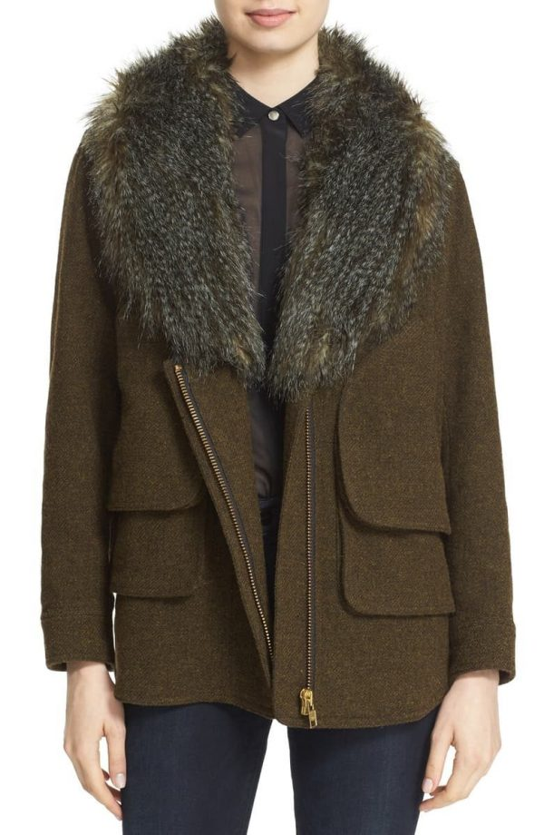 Wool Blend Flak Jacket with Removable Faux Fur Collar